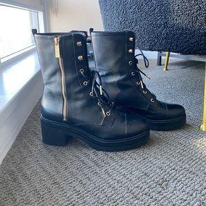 Anaka Leather Combat Black Boots